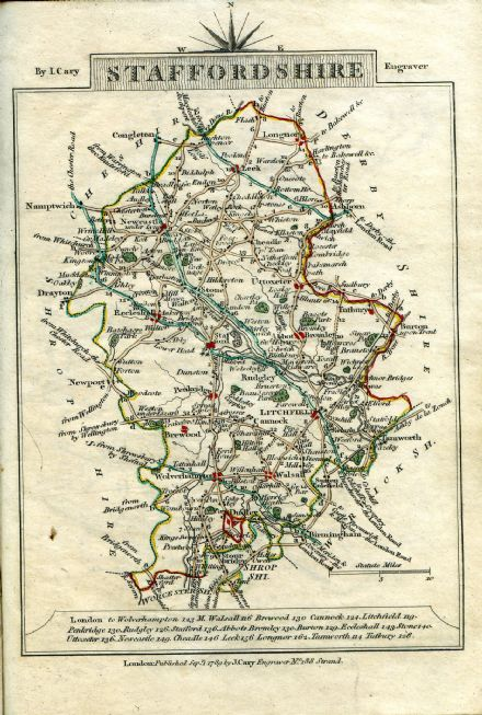 Staffordshire County Map by John Cary 1790 - Reproduction